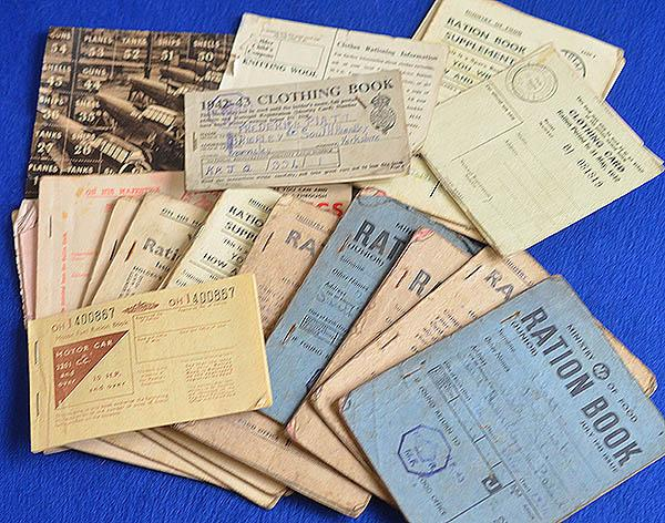 COLLECTION OF WW2 BRITISH RATION BOOKS AND COUPONS.